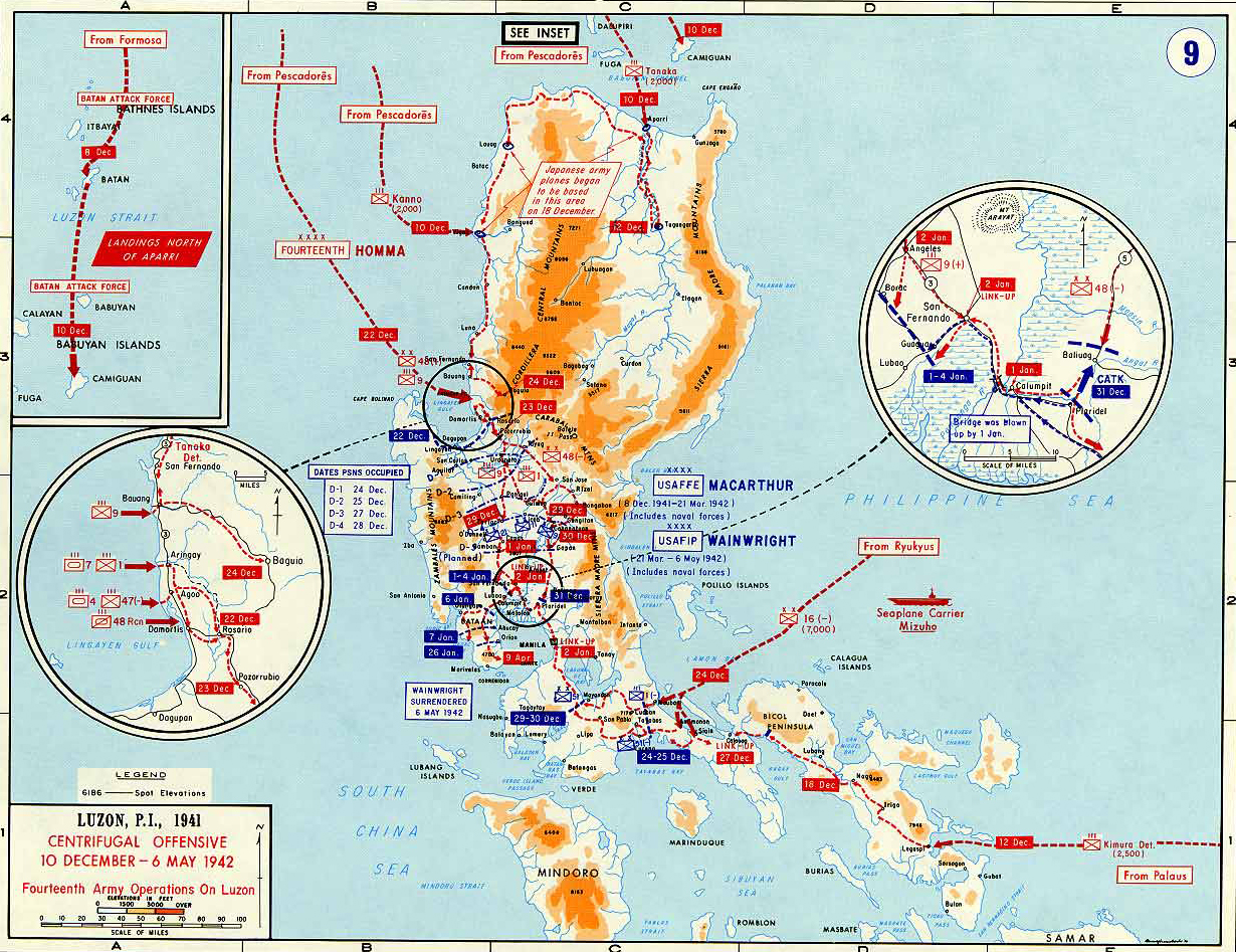 Map Of World War II: Southeast Asia. Luzon, Philippines, Luzon, Philippines