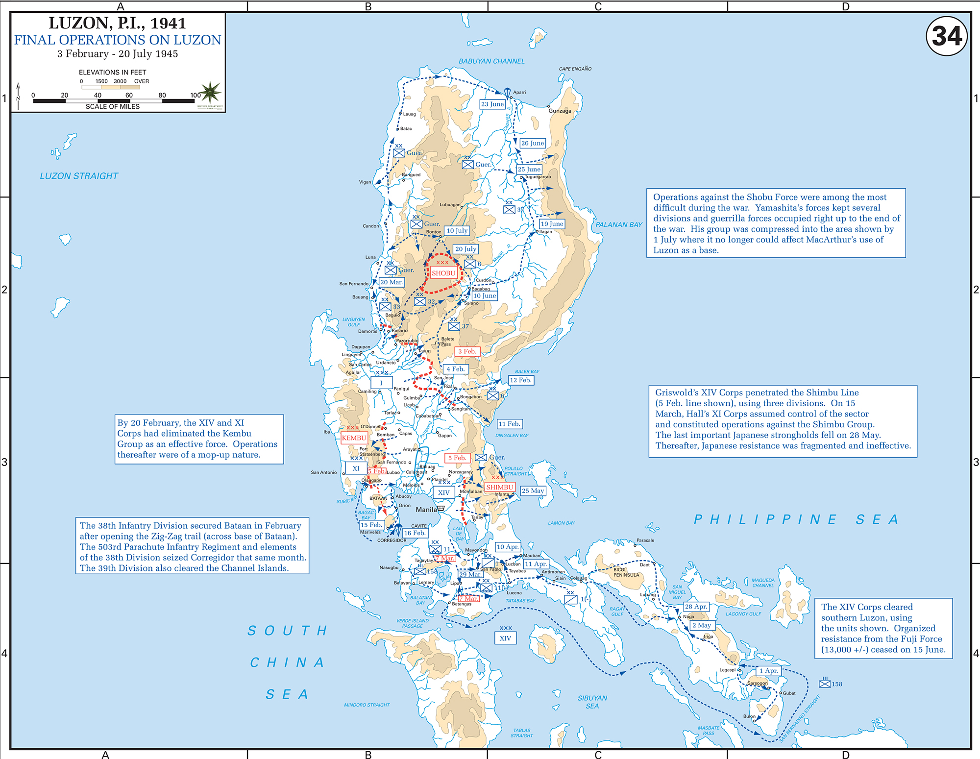 Map of WWII: Luzon, the Philippines 1945
