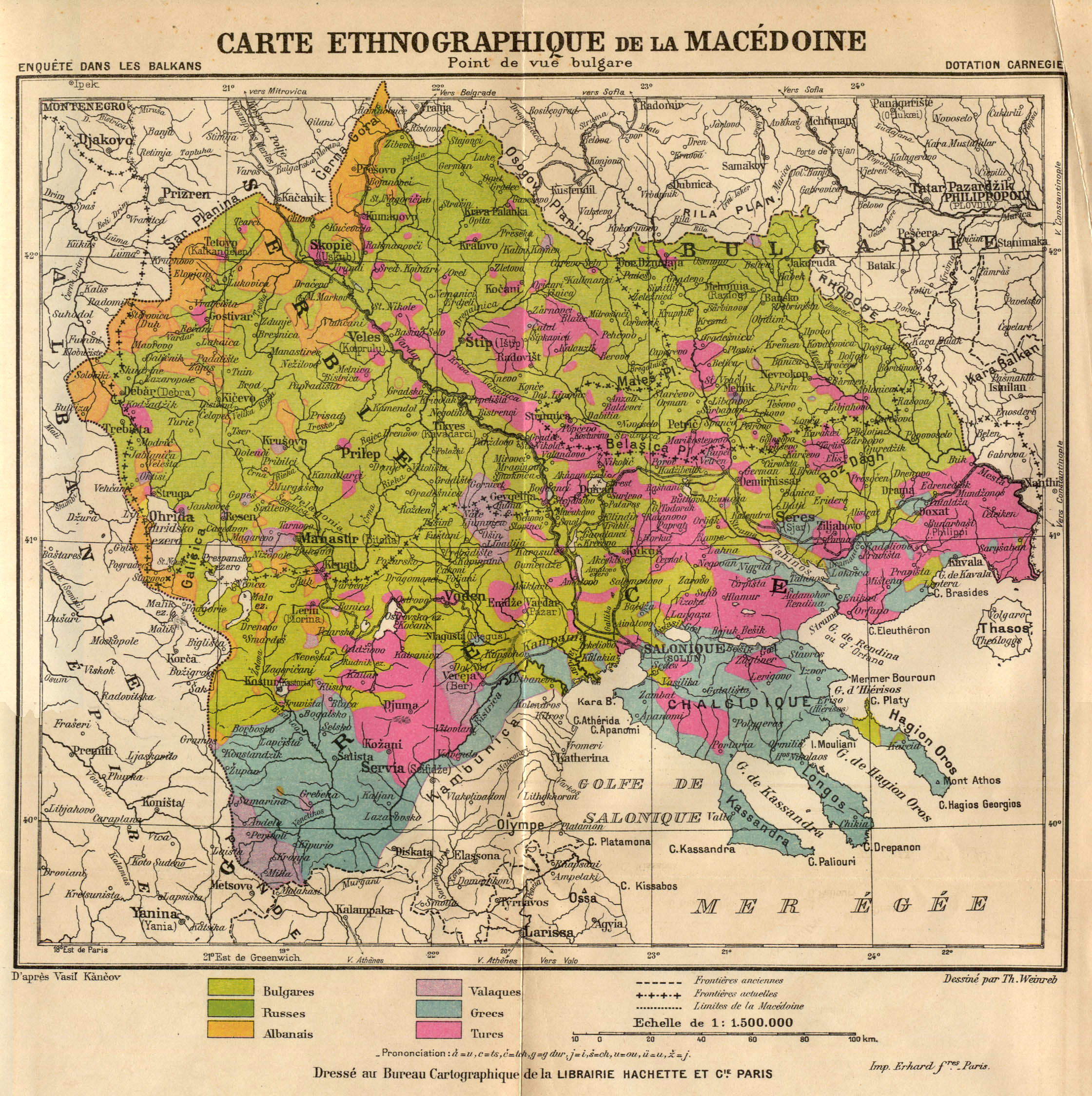 Map of Macedonia from the point of view of the Bulgarians 1914