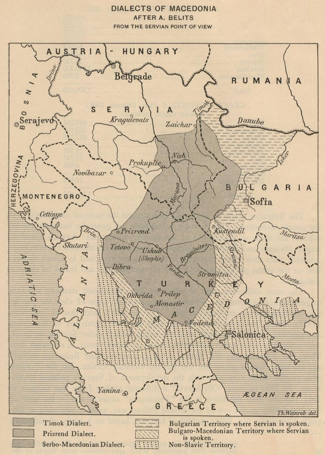 Map of Macedonia - Dialects 1914