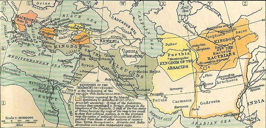 Map of the Macedonian Empire 200 BC