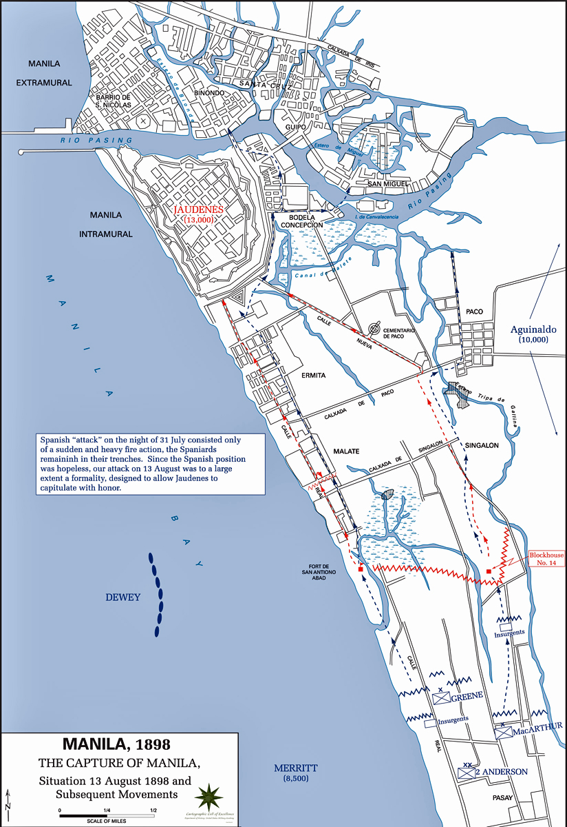 Map of the Capture of Manila - August 13, 1898