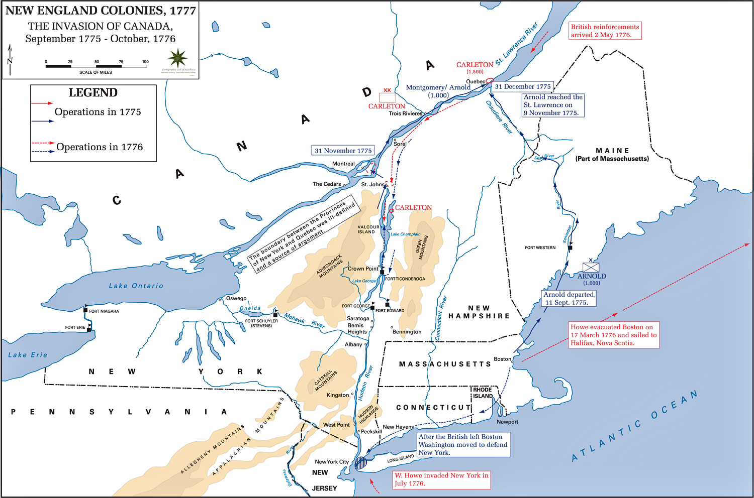 Of The American Revolution Campaigns - Map of us in 1776
