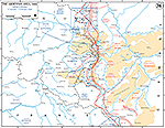Map of World War II: Ardennes. German Counter-Offensive. Operations January 17 - February 7, 1945