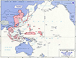 Map of World War II: The Far East and the Pacific. Areas Under Allied and Japanese Control. Situation August 15, 1945.