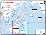 Map of World War II: The Far East and the Pacific. The Battle of the Coral Sea, May 4-8, 1942. The Battle of Midway, June 3-6, 1942.