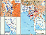 Map of World War II: China and Burma. Third Burma Campaign. Slim's Offensive June 1944 - March 1945.