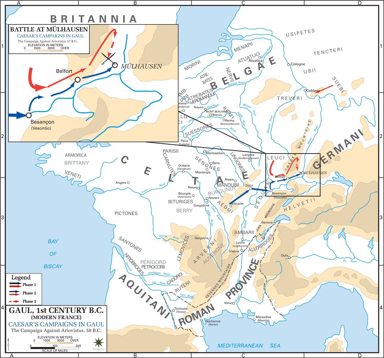 Map of Caesar's Campaign in Gaul, 58 BC