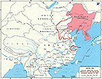 Map of China 1937. Chinese Territory Seized Prior to July 1937, Major Japanese Drives in 1937.