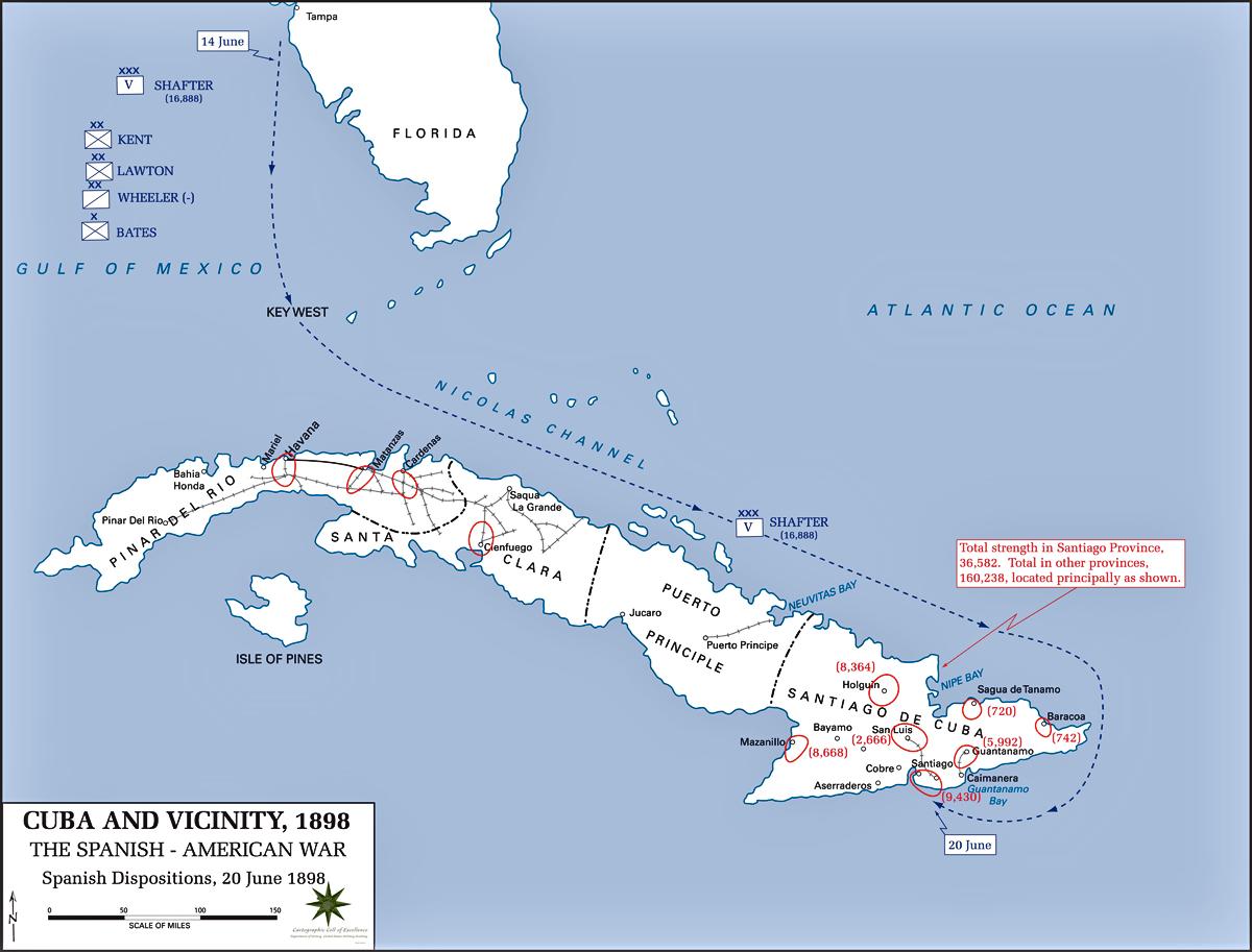 Map of Cuba - June 20, 1898