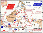 Map of World War II: Southeast Asia. Dutch East Indies. Japanese Centrifugal Offensive, December 1941 - April 1942.