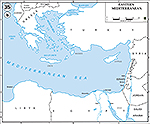Map of the Eastern Mediterranean: Turkey, Lebanon, Syria, Jordan, Israel, Egypt, Saudi Arabia, Sinai Peninsula, Libya.