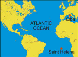 Elba and Saint Helena on a Map