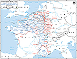 Map of WWII: Western Europe. Pursuit to the West Wall. Operations August 26 - September 14, 1944.