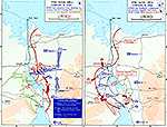 History Map of the Suez Canal Area. Campaign in Sinai, Operation GAZELLE, Egyptian Counter-Attacks, October 1973.