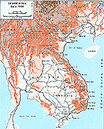 History Map of the Vietnam War. Indochina Early 1954.