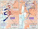 History Map of Israel and Syria: Golan Heights Campaign, Syrian Attack, Israeli Attack, Arab Counter-Attacks, October 1973.