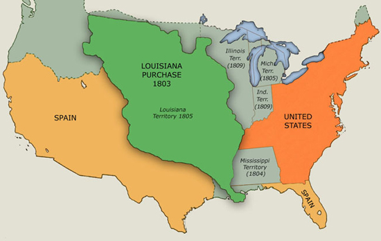 Purchase - Map of us territories in 1803