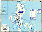 Map of World War II: Southeast Asia. Luzon, Philippines, Communications Net, American Dispositions, December 8, 1941.