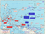 Map of World War II: The Western Pacific, New Guinea, and the Philippine Islands April 22 - July 24, 1944.