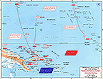 Map of World War II: Pacific. Micronesia, Melanesia, and New Guinea. Japanese Centrifugal Offensive, December 1941 - April 1942. Japanese Fourth Fleet and South Seas Detachment Operations.