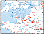 Map of WWII: Northwestern France on June 6, 1944. Allied Invasion Forces and German Dispositions.