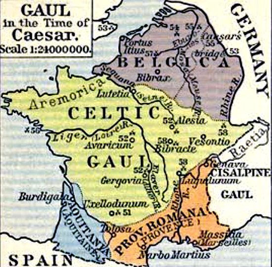 Historical Map of Gaul in the Time of Caesar