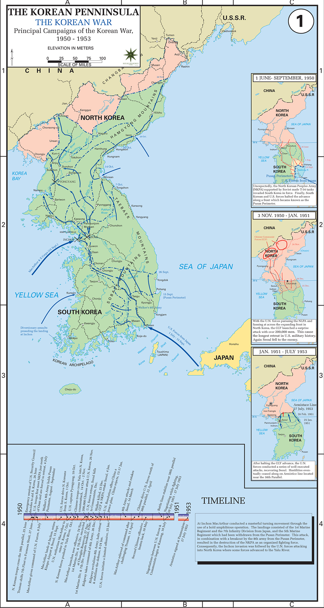 Map of the Korean War: Principal Campaigns 1950 - 1953.
