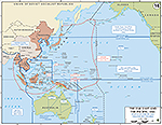 Map of World War II: The Far East and the Pacific. Status of Allied Forces and Theater Boundaries, July 2, 1942.