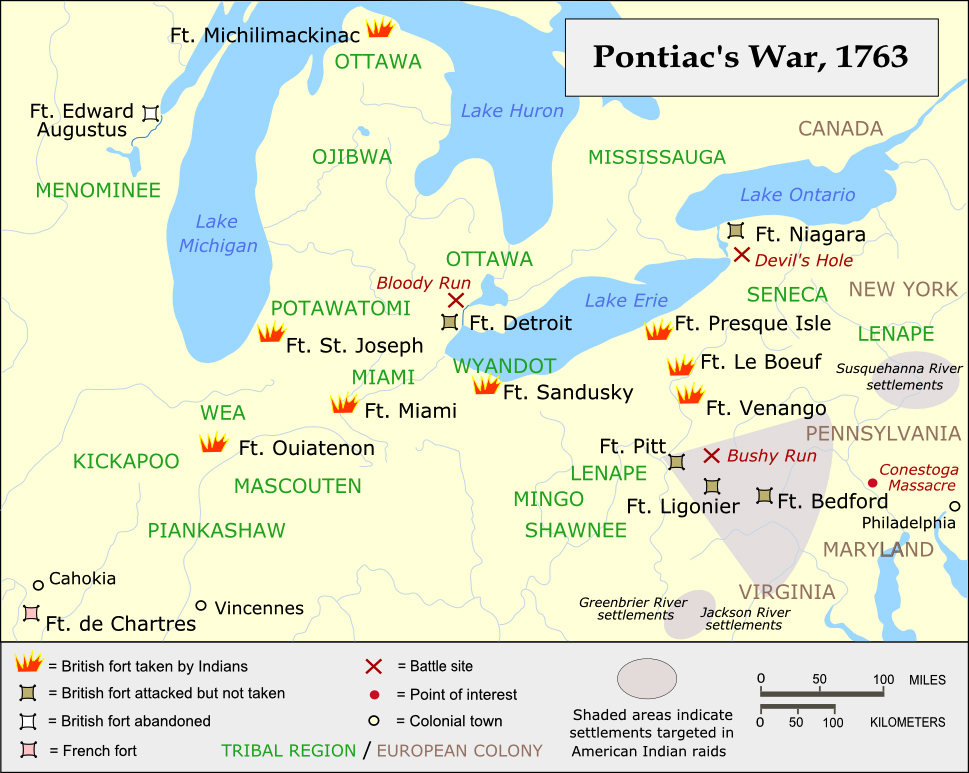 Map Of Pontiac39s War 1763