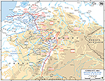 Map of World War II: European Western Front, Crossing of the Rhine River, March 22-28, 1945