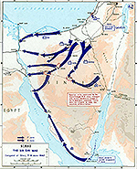 History Map of the Sinai Peninsula: Israel's War of Independence, The Six Day War, Conquest of Sinai, June 7-8, 1967.