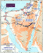 History Map of the Sinai Peninsula: Israel's War of Independence, Campaign in Sinai, Opening Phase, October 29-31, 1956.