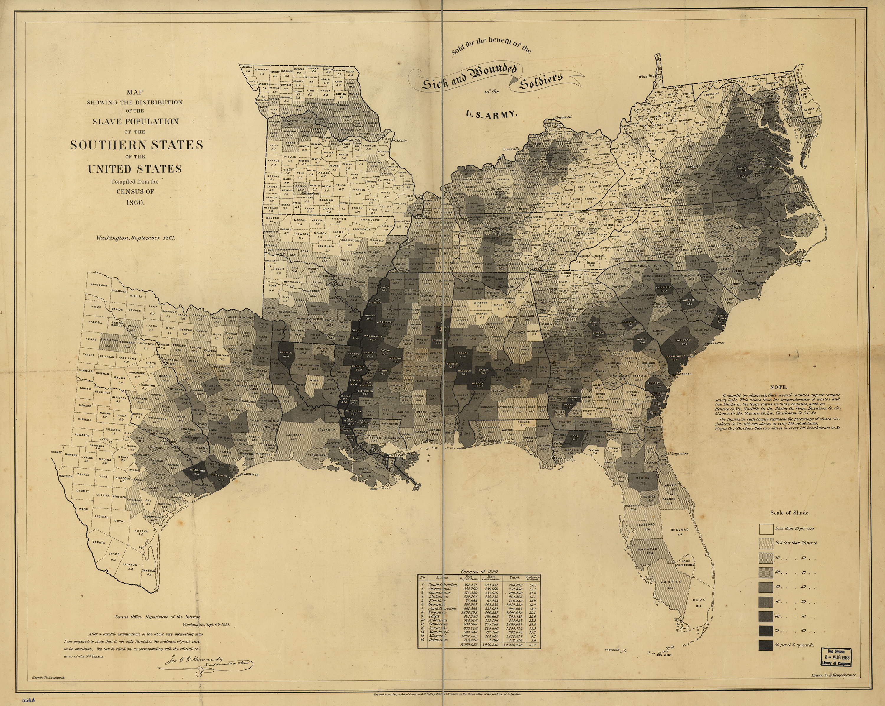 Map showing the distribution of the slave population of the southern states of the United States. Compiled from the census of 1860.