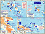 Map of World War II: The Pacific. The Solomons and New Guinea June 1943 - April 1944.