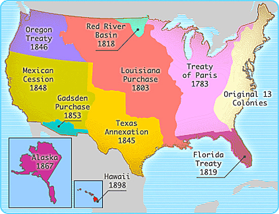 AdamsOnis Treaty - Map of us territories in 1803