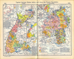 Typical German States Before and since the French Revolution: I. Baden. Insets: The County of Sponheim. Lordship of Gravenstein. Baden since 1801. II. Wurtemberg. Insets: County of Horburg and Lordship of Reichenweier. Principality-County of Montbeliard. Wurtemberg since 1495.