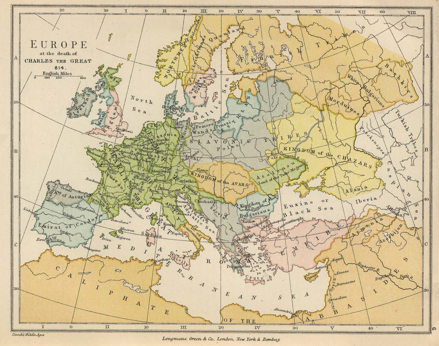 Map of Europe at the death of Charles the Great, 814