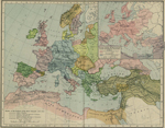 Europe and the Mediterranean Lands about 1097. Inset: Europe and the Mediterranean Lands by Religions about 1097.