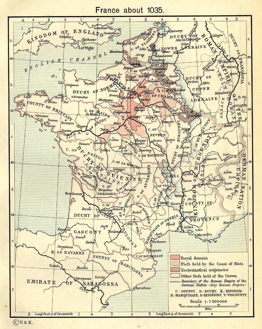 Map of France around the year 1035