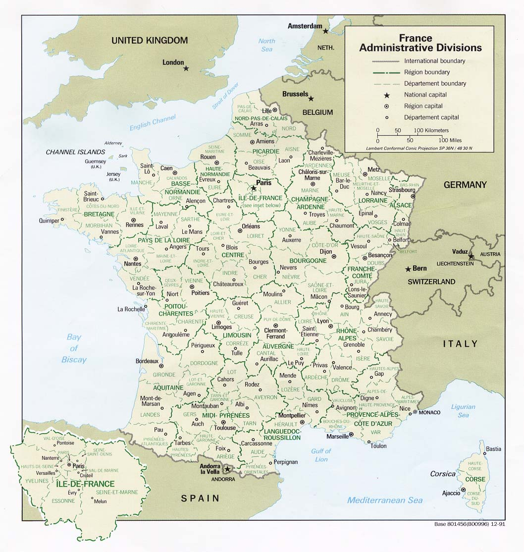 Map of France, 1991