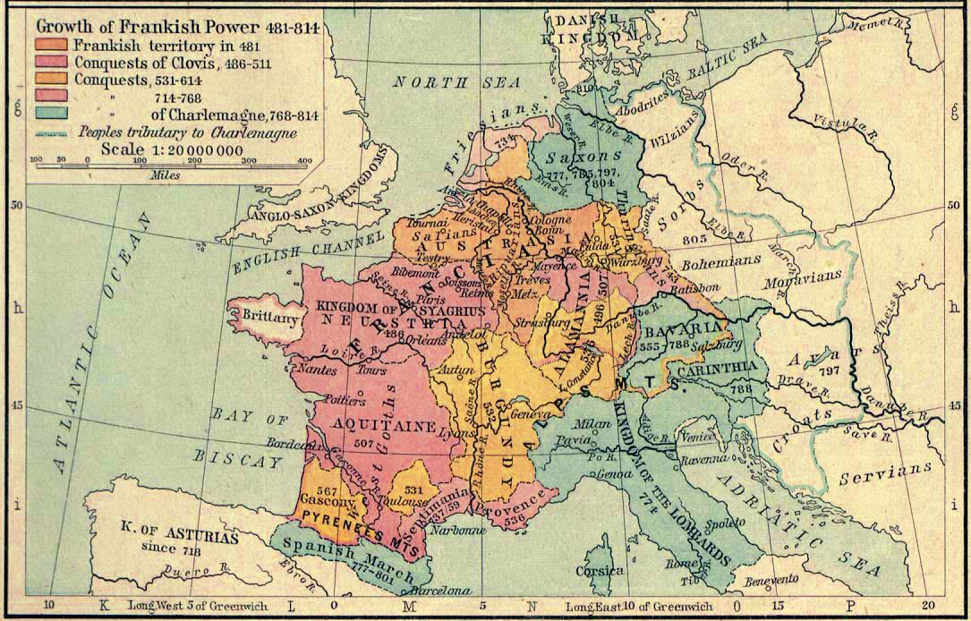 Map of the Growth of Frankish Power 481-814