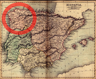 Map of ancient Galicia (Spain)