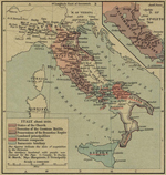 Map of Italy about 1050. Inset: The Patrimony of St. Peter.