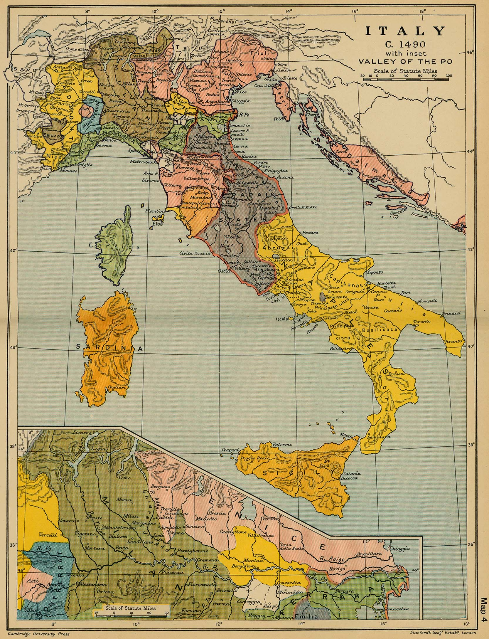 Map of Italy in 1490. Inset: Valley of the Po.