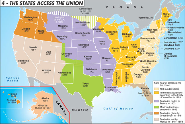 Map of the United States: The States access the Union