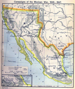 Campaigns of the Mexican War, 1846-1847. Inset: Route from Vera Cruz to Mexico.