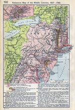 Reference Map of the Middle Colonies, 1607-1760. Inset: Settlements on the Delaware River.