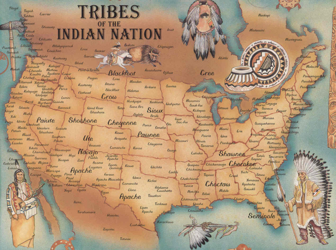 US Map Of The Native American Tribes - Us indian territory 1800s map