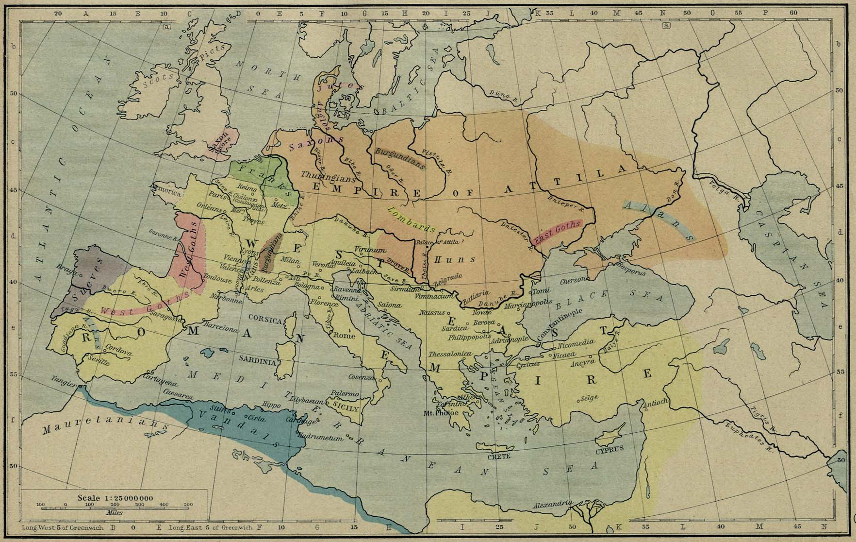 Map of Attila's Empire, the Huns - 450 AD